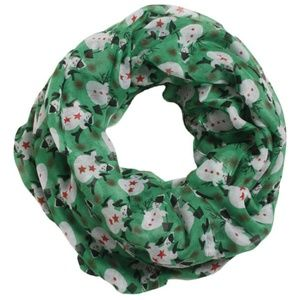 New Green with Snowman Infinity Loop Scarf